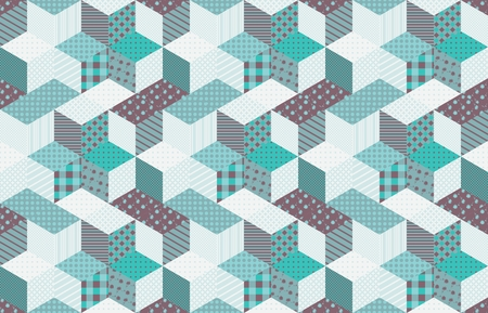 quilting: Winter seamless patchwork pattern with stars. Vector background. Quilting in aquamarine tones.