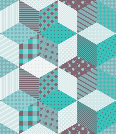 patchwork quilt: Winter seamless patchwork pattern with stars. New year background. Vector illustration of quilt in aquamarine tones.