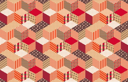 quilting: Autumn seamless patchwork pattern with stars. Vector background. Quilting in warm colors. Illustration