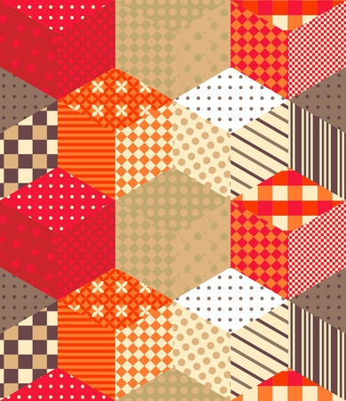 Cute seamless patchwork pattern with colorful cubes. Quilt. Endless vector background in warm tones. Illustration