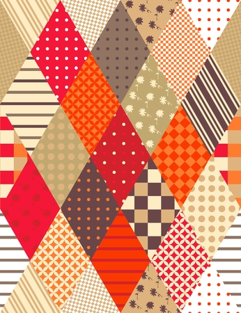 Beautiful patchwork seamless pattern with colorful rhombus. Vector background. Can be used for paper, wallpaper, wrapping, textile, chocolate packaging. Illustration