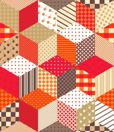 bedding: Cute colorful vector background with cubes and stars. Seamless patchwork pattern on warm tones. Can be used for textile, paper, wallpaper, wrapping, bedding, tablecloth, websites and other.