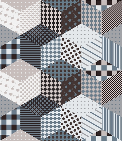 Seamless patchwork pattern in gray tones. Vector background with cubes from patches. Illustration