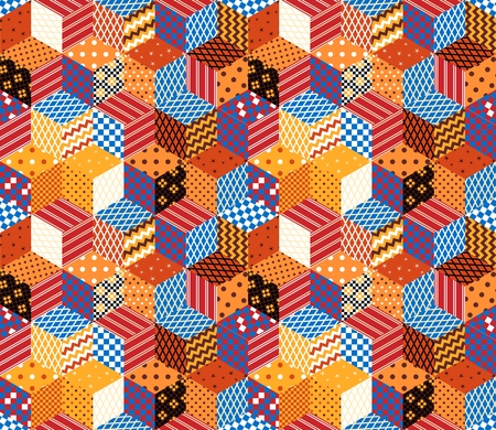 bedding: Patchwork. Colorful vector background with cubes and stars from patches. Seamless vector pattern. Can be used for web, websites, paper, wallpaper, wrapping, bedding, interior design.