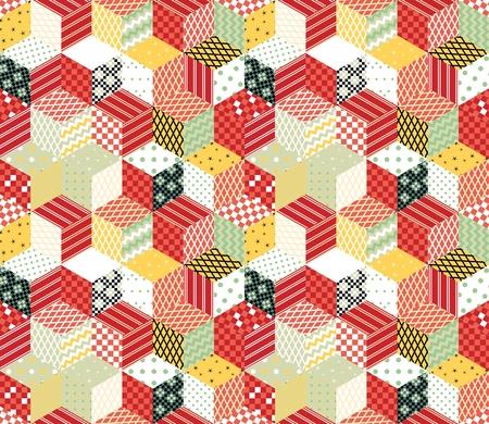 Labor de retazos. telón de fondo colorido del vector con los cubos y estrellas de parches. Patrón de vector transparente.
