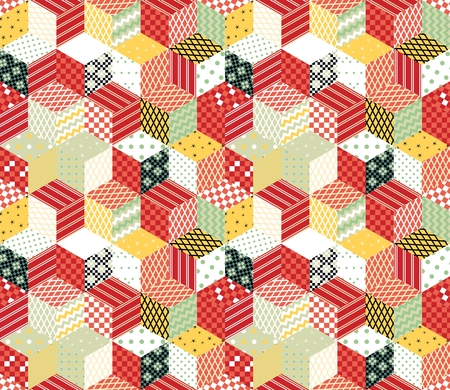 Patchwork. Colorful vector backdrop with cubes and stars from patches. Seamless vector pattern.