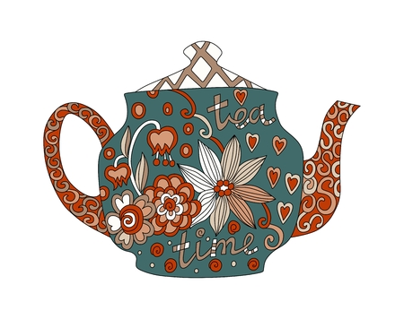 teatime: Teatime. Beautiful teapot with floral ornament isolated on white background. Vector illustration. Illustration