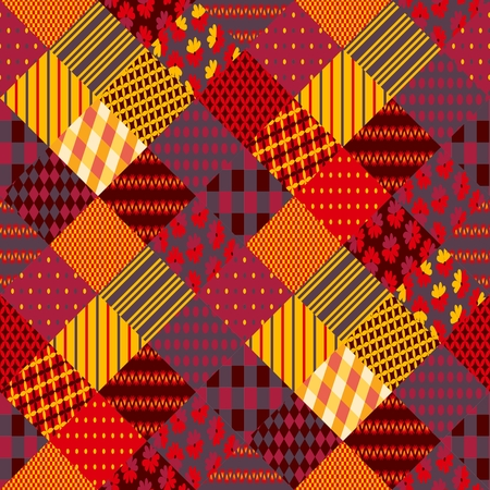Print for fabric. Patchwork in warm autumn colors. Ethnic boho seamless pattern. Geometric tribal ornament. Vector illustration. Illustration