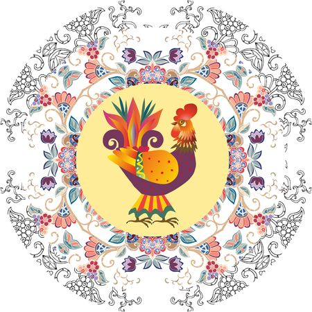 chinese new year decoration: Decorative plate with abstract floral ornament and cute cartoon cockerel - chinese symbol of 2017. Year of the Rooster. Packaging design. Original gift.
