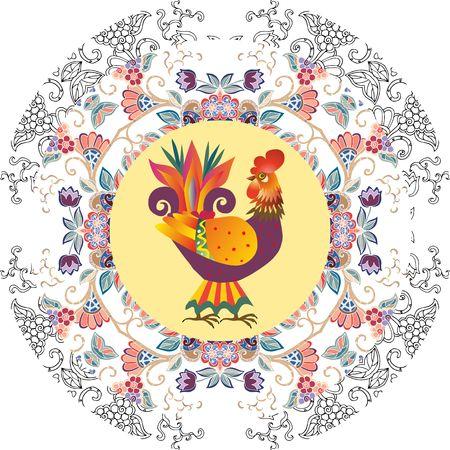 bonito: Placa decorativa con el ornamento floral abstracto y gallo de dibujos animados lindo - símbolo chino de 2017. Año del Gallo. Diseño de envases. regalo original. Vectores