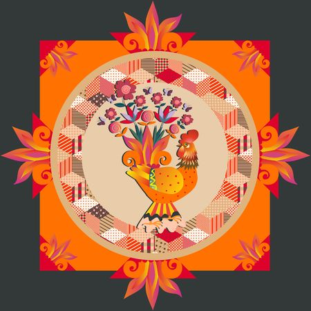 Lovely tablecloth, greeting card or beautiful pillowcase with gold fairy rooster and patchwork ornament. Vector illustration. Packaging design.