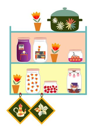 confiture: Cute kitchen shelves. Jars with sweet jam and dreams of cozy home, flowers in pot, pan and potholders. Vector illustration. Memories of summer.