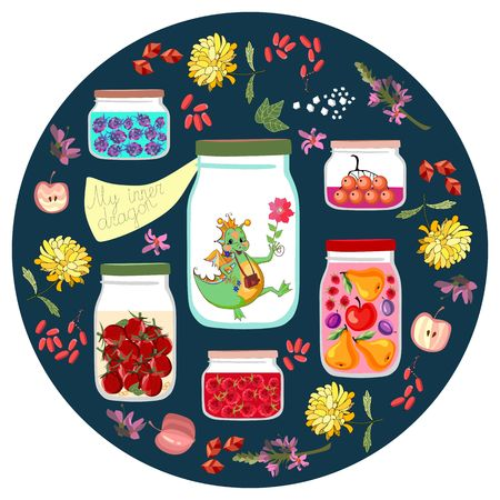 canned fruit: My inner dragon. Cute cartoon illustration with different jars with canned fruit jams, vegetables and berries, and cheerful little dino. Decorative round plate. Vector drawing for kids.