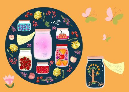 canned fruit: Canned Time. Allegorical vector illustration. Summer night and summer scents like canned in glass jars among other jars with canned fruit jams, vegetables and berries. Decorative round plate.