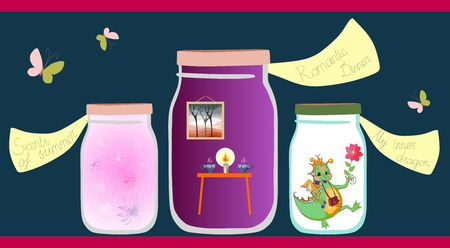 allegorical: Allegorical vector illustration. Scents of the summer, romantic dinner and cheerful little dragon in glass jars on shelf. Vitamins for the soul.