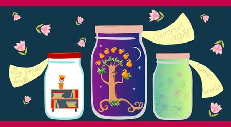 Allegorical vector illustration. My favorite books, summer night and summer scents in glass jars on dark background. Vitamins for the Soul. Illustration
