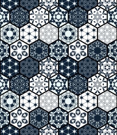 Sammlung von ornamentalen sechseckigen Fliesen. Vektor nahtlose Patchwork-Muster. Portugiesisch marokkanisches Motiv. Ungewöhnlicher Flourish-Print.