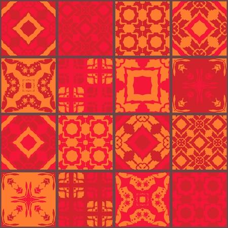 ceramic tiles: Red moroccan ceramic tiles. Cute patchwork pattern. Vector illustration. Pillowcase. Illustration