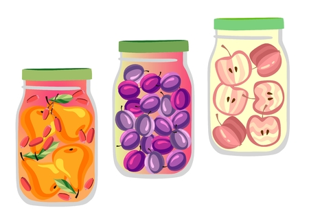 marmalade: Set of three natural fruit jam jars. Pear, plum and apple marmalade isolated on white. Vector illustration. Transparent cans.