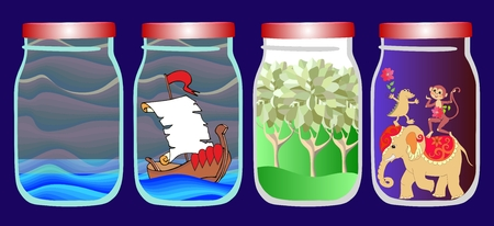 allegorical: Save the memories of voyage. Vector allegorical illustration with sea, ship, forest and tropical animals in jar. Illustration