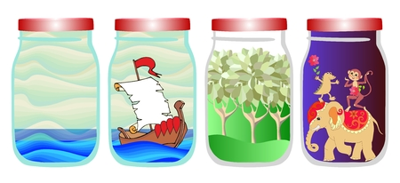 allegorical: Save the memories of summer. Vector allegorical illustration with sea, ship, forest and tropical animals in jar. Elephant, monkey and crocodile. Illustration