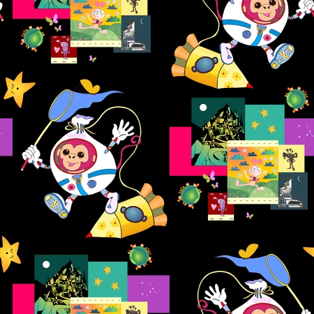 funny pictures: Fantastic print for children with cute monkey astronaut, spacecraft and funny pictures with aliens. Bright seamless vector background. It can be used for bed linen, paper, wallpaper, carpet, websites.