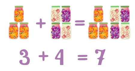 addition: Mathematical examples in addition to fun glass jars. Vector illustration. Educational game for children. Numbers three, four, seven. Plum, pear and apple compote.