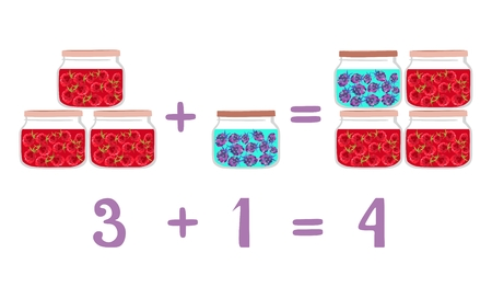 addition: Mathematical examples in addition to fun glass jars. Vector illustration. Educational game for children. Raspberry and blackberry jam. Numbers one, three, and four.
