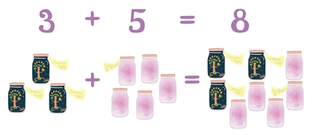 addition: Mathematical examples in addition to fun glass jars. Numbers three, eight, five. Vector illustration. Educational game for children. Summer night and scents of summer.