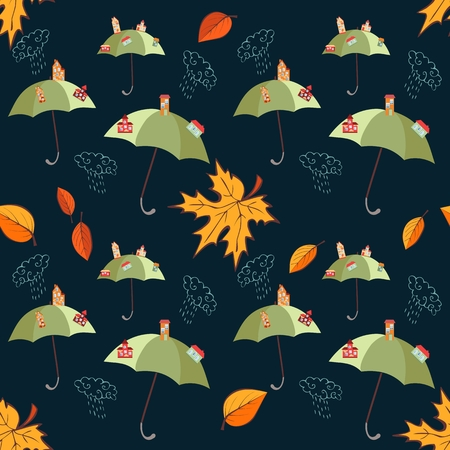 child holding sign: Seamless vector pattern with umbrellas and cities on them, leaves and clouds on dark background.