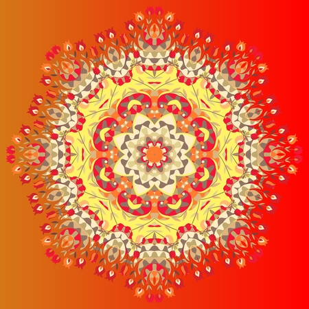 kerchief: Flower mandala. Vector illustration of colorful shawl. Ornamental bandana or silk neck scarf. Kerchief square pattern design style for print on fabric. Lovely tablecloth.
