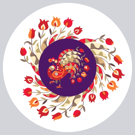 original plate: Decorative plate with floral ornament and cute cartoon peacock. Year of the Rooster. Packaging design. Original gift.