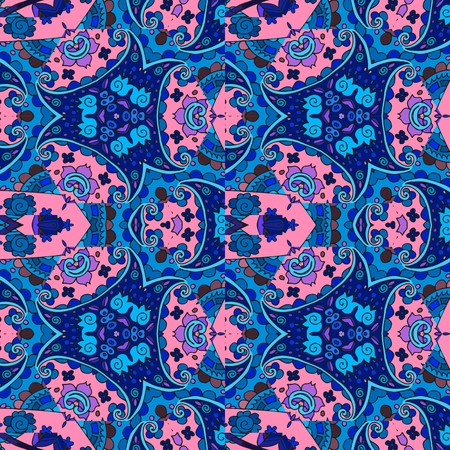 bedding: Ethnic detailed floral and paisley seamless pattern. Vector illustration. Print for fabric. Bedding, wrapping. Illustration