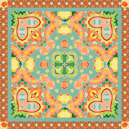 Indian bandana print in green and orange tones with paisley and flowers - 2. Vector illustration.