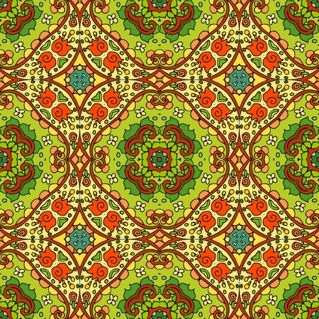 Ethnic bright seamless ornamental pattern. Indian motives.