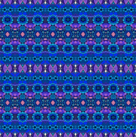 Ethnic endless striped pattern with flowers. Vector background in blue and pink tones. Print for fabric.