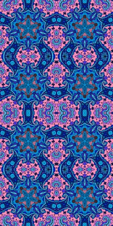 Beautiful seamless vector pattern with curls and flowers in blue and pink tones. Illustration