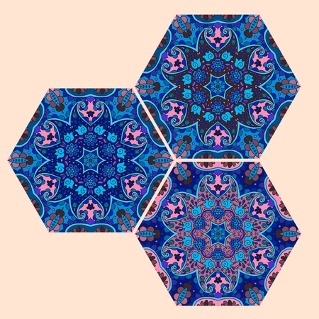 cobalt: Vector set of hexagonal ceramic tiles in cobalt and blue tones. Oriental motives.