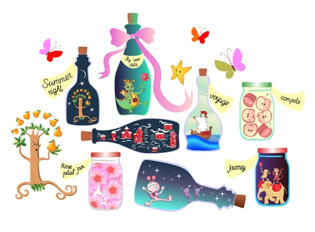 allegorical: Magic Pantry. Fairy tale. Cute cartoon allegorical illustration. Bottles and cans of jam, pleasant memories and a real adventure. Inner child is in the form of a fun dragon in a bottle. Illustration