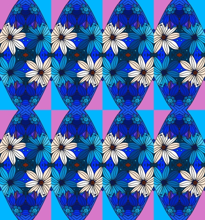 daisy pink: Beautiful seamless pattern with daisy and pink and blue rhombuses.