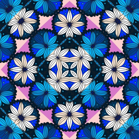 daisy pink: Beautiful seamless pattern with daisy and pink and blue rhombuses- 3