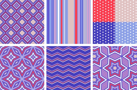 stripped background: Variety of trendy seamless vector patterns in red, blue and white color scheme.  Polka dot, zigzag, ornamental and stripped background.