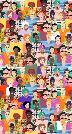 Multiethnic Gruppe von Menschen. Nahtlose Vektor-Muster mit Männern und Frauen verschiedener Altersgruppen, Rassen und Nationalitäten. Drucken für Stoff. Nette Karikaturillustration. Vektorgrafik