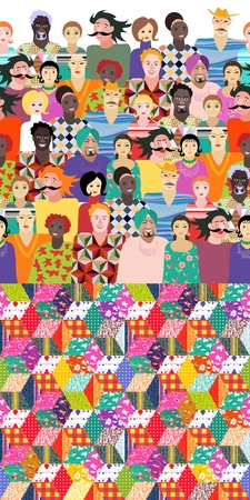 nationalities: Festival. Colorful endless pattern with people of different ages, races and nationalities and bright quilt. Can be used for wrapping, poster, card, invitation, placard, brochure, flyer,  websites - 2. Illustration