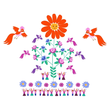Festive template for embroidery. Flower - Sun, blooming tree, birds and cute cartoon people. Mexican motives. Beautiful vector background - 1.