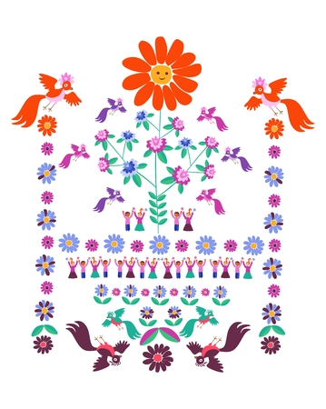 Festive template for embroidery. Flower - Sun, blooming tree, birds and cute cartoon people. Mexican motives. Beautiful vector background - 3.