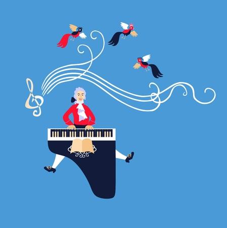 pianista: Mozart interpretó su música en el clave. ilustración vectorial de dibujos animados lindo