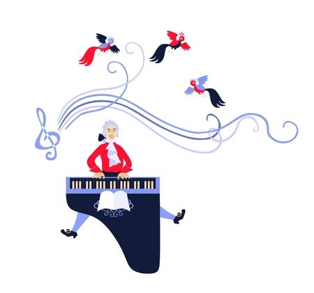 Mozart speelde zijn muziek op het klavecimbel. Cute cartoon vector illustratie