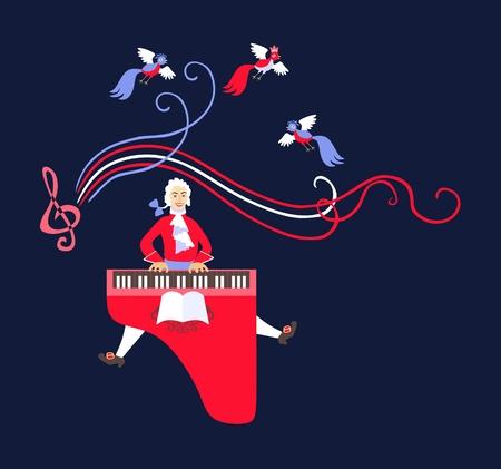 모차르트는 그의 음악을 하프시 코드에서 연주했다. 귀여운 만화 벡터 일러스트 레이션