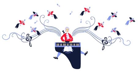 pianista: alas de Mozart con la música. Ejemplo lindo del vector de la historieta. Vectores